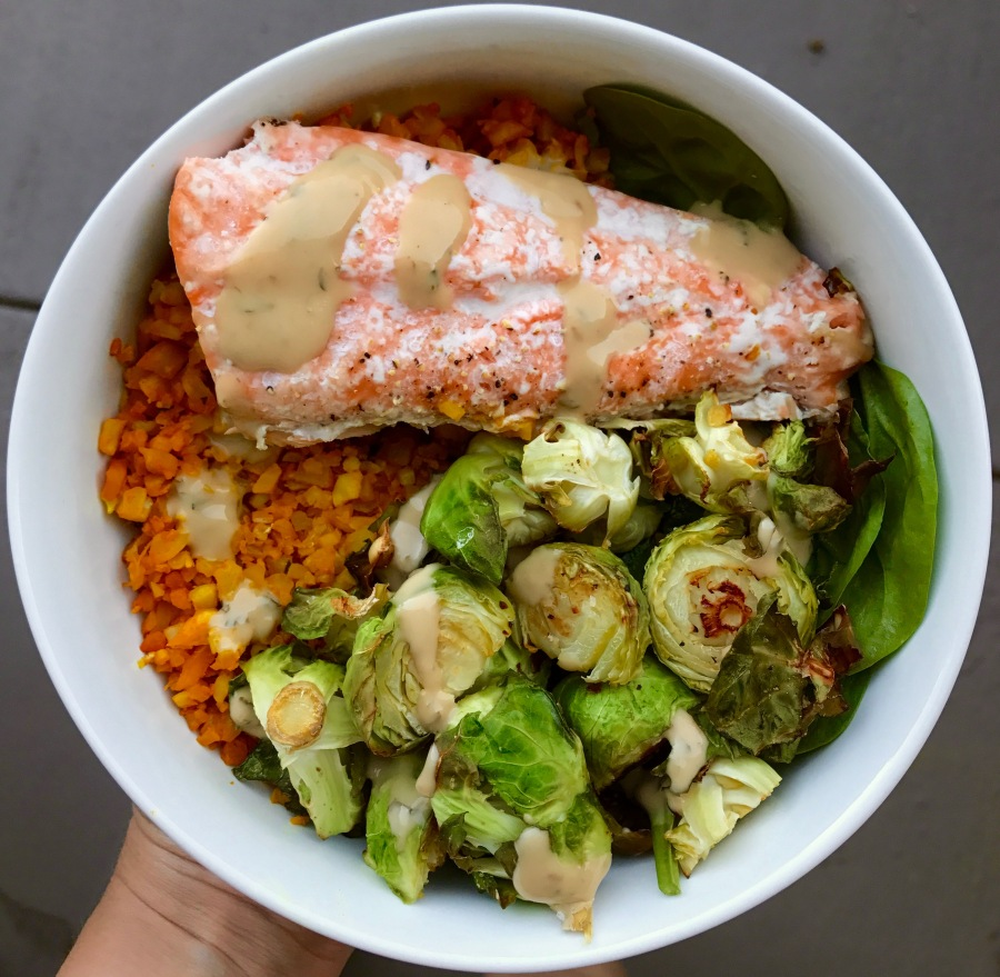 Recipe: Salmon and veggie bowl, baked at 400 degrees of love